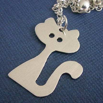 hand cut sterling silver cat pendant necklace