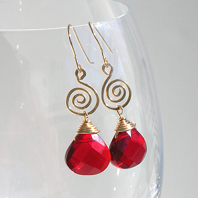 14k gold filled, ruby red jade, earrings