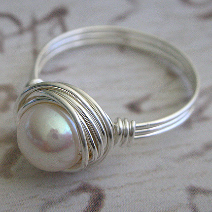 Wire Wrapped sterling silver white freshwater pearl ring